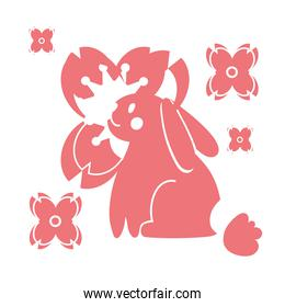 mid autumn festival card with rabbit and flower line style icon