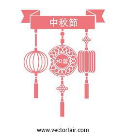 mid autumn festival card with decorations hanging line style design