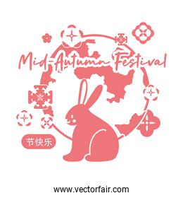 mid autumn festival card with rabbit and moon line style icon