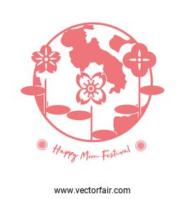 mid autumn festival card with moon and flowers line style icon