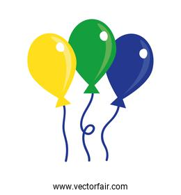 balloons air hot floating flat style icon
