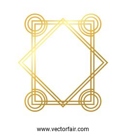 geometric border frame decoration golden gradient style icon
