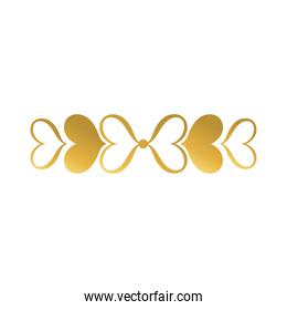 hearts alined frame decoration golden gradient style icon