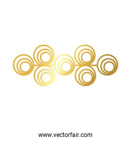 elegant border frame with circles decoration golden gradient style icon