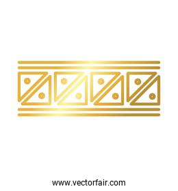 frame with geometric figures decoration golden gradient style icon