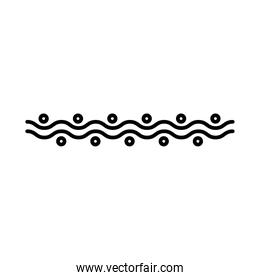 elegant border frame with waves decoration silhouette style icon