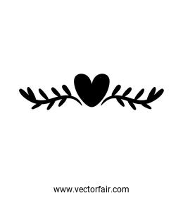 elegant border frame with leafs and heart decoration silhouette style icon