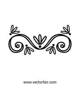 elegant border frame with leafs decoration silhouette style icon