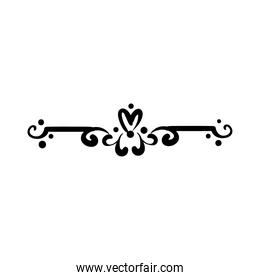 elegant border frame with flowers and leafs decoration silhouette style icon