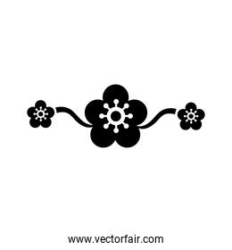 elegant border frame with flowers decoration silhouette style icon