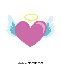heart with halo and wings hand draw style icon
