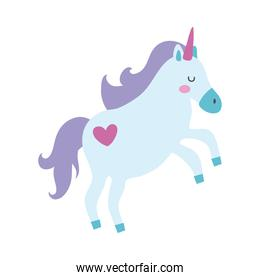cute unicorn with heart tatto magical horse hand draw style icon