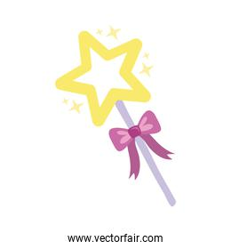 magic wand with star hand draw style icon