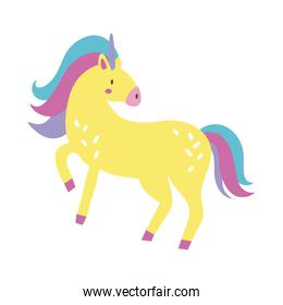 cute unicorn magical character hand draw style icon