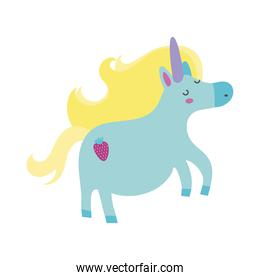 cute unicorn with carrot tatto magical character hand draw style icon