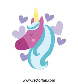 cute unicorn head with hearts hand draw style icon