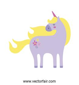 cute unicorn with floral tatto hand draw style icon