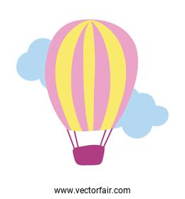 balloon air hot flying hand draw style icon