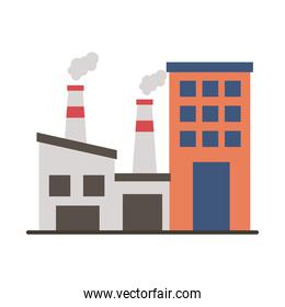 industry factory buildings and chimneys flat style icons
