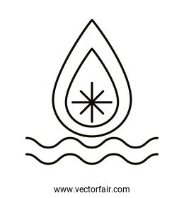 water waves and fire flame zodiac symbol line style