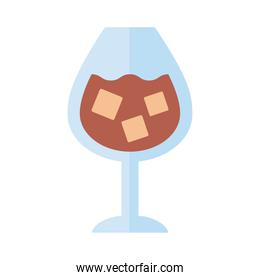 wine cup with drink with ice cubes flat style icon