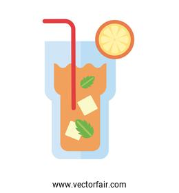 cocktail glass with orange fruit flat style icon