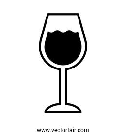 wine cup with drink line style icon
