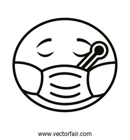emoji face wearing medical mask and thermometer line style icon