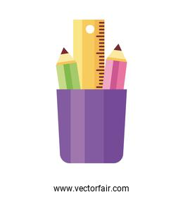 pencils colors in pencils holders school supplies flat style icon