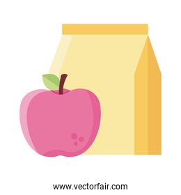 apple fruit with food bag flat style icon