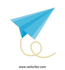 airplane paper flying flat style icon