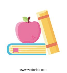 pile text books school supply and apple flat style icon