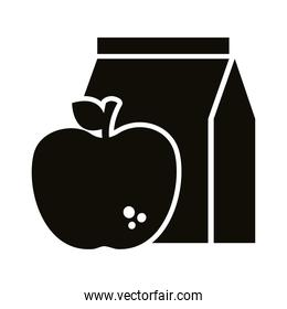 apple fruit with food bag silhouette style icon