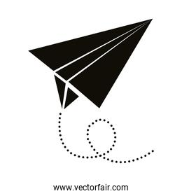 airplane paper flying silhouette style icon