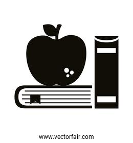 pile text books school supply and apple silhouette style icon