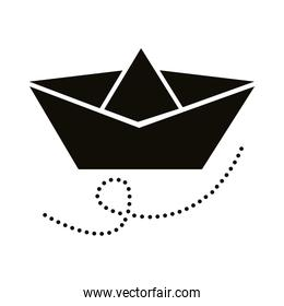 paper ship silhouette style icon