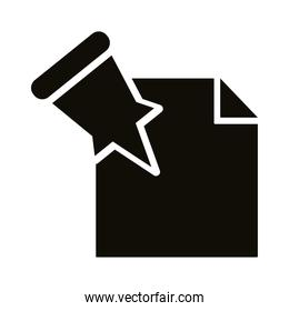 atach paper pin silhouette style icon