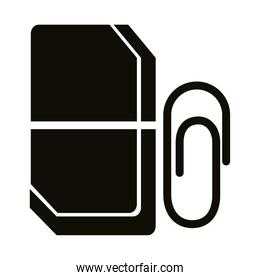 eraser and clip school supply silhouette style icon