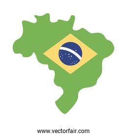 brazil flag in map flat style icon
