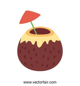 coconut cocktail with red umbrella flat style icon