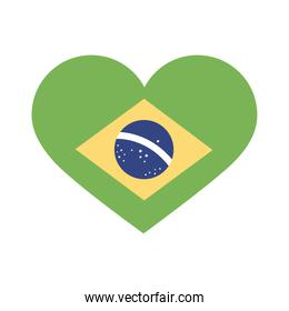 brazil flag in heart flat style icon