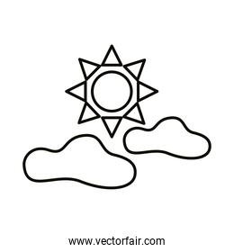 sun and clouds sky line style icon