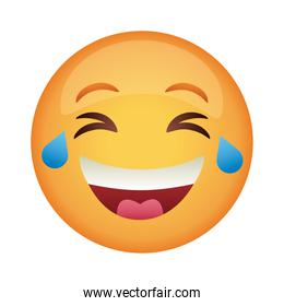 emoji face laughing classic flat style icon