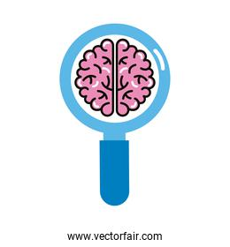 brain human with magnifying glass line and fill style icon