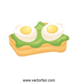 frieds eggs in bread with lettuce breakfast detailed style icon