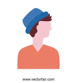 young man profile with hat avatar character flat style icon