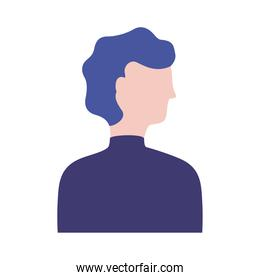 young man profile avatar character flat style icon
