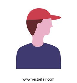 young man profile with sport cap avatar character flat style icon