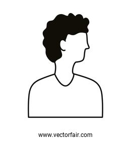 young afro man profile avatar character line style icon
