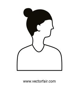 young man profile with long hair avatar character line style icon